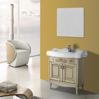 Bathroom Vanity 31 Inch Vanilla Floor Standing Bathroom Vanity Set, Vanity Mirror Included Nameeks MI-F08