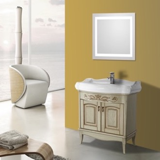 Bathroom Vanity 31 Inch Vanilla Floor Standing Bathroom Vanity Set, Lighted Vanity Mirror Included Nameeks MI-F12