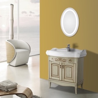 Bathroom Vanity 31 Inch Vanilla Floor Standing Bathroom Vanity Set, Lighted Vanity Mirror Included Nameeks MI-F18