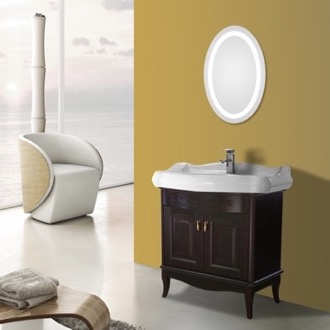Bathroom Vanity 31 Inch Calvados Floor Standing Bathroom Vanity Set, Lighted Vanity Mirror Included Nameeks MI-F61