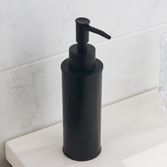 Round Modern Matte Black Soap Dispenser Nameeks NCB85