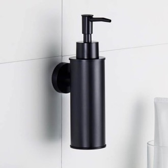 Wall Mounted Round Matte Black Soap Dispenser Nameeks NCB87