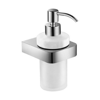 Wall Mount Frosted Glass Soap Dispenser With Chrome Mounting Nameeks NFA006