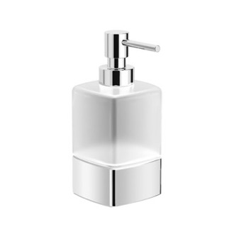 Frosted Glass Soap Dispenser With Chrome Base Nameeks NNBL0074