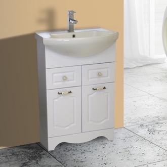 23 Inch Floor Standing White Vanity Cabinet With Fitted Sink Nameeks CLA-F01