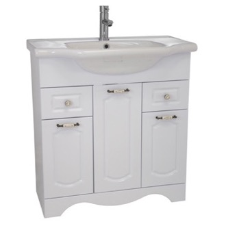 Nameeks CLA-F02 31 Inch Floor Standing White Vanity Cabinet With Fitted Sink