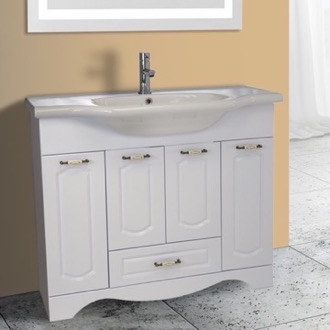 Bathroom Vanity 39 Inch Floor Standing White Vanity Cabinet With Fitted Sink Nameeks CLA-F03