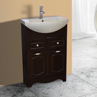 Bathroom Vanity 23 Inch Floor Standing Walnut Vanity Cabinet With Fitted Sink  Nameeks CLA F04