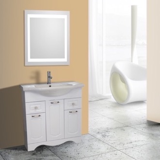 Bathroom Vanity 32 Inch White Floor Standing Bathroom Vanity Set, Lighted Vanity Mirror Included Nameeks CLA-F14