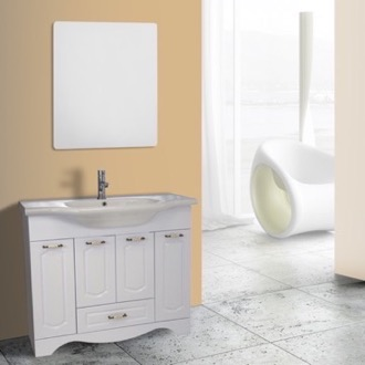 Bathroom Vanity 40 Inch White Floor Standing Bathroom Vanity Set, Vanity Mirror Included Nameeks CLA-F25