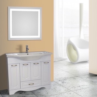 Bathroom Vanity 40 Inch White Floor Standing Bathroom Vanity Set, Lighted Vanity Mirror Included Nameeks CLA-F33