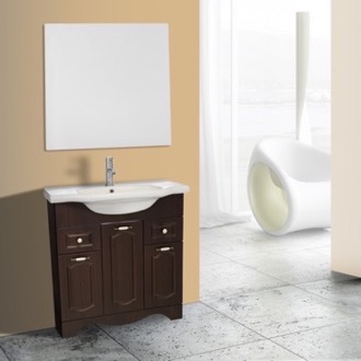 Bathroom Vanity 32 Inch Walnut Floor Standing Bathroom Vanity Set, Vanity Mirror Included Nameeks CLA-F49