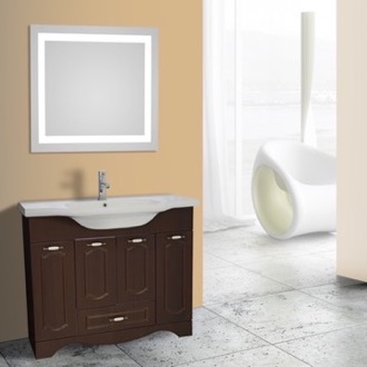 Bathroom Vanity 40 Inch Walnut Floor Standing Bathroom Vanity Set, Lighted Vanity Mirror Included Nameeks CLA-F70