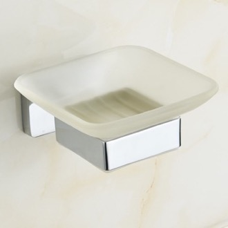 Chrome Wall Mounted Frosted Glass Soap Dish Nameeks NCB19