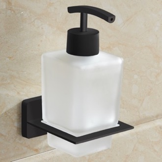 Matte Black Wall Mounted Frosted Glass Soap Dispenser Nameeks NCB62