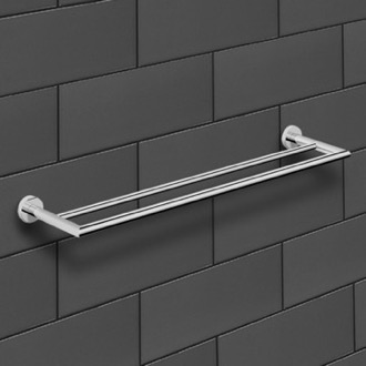 25 Inch Polished Chrome Double Towel Bar Nameeks NNBL0038
