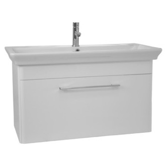 Bathroom Vanity 38 Inch Wall Mounted White Vanity Cabinet With Fitted Sink Nameeks PA-W02