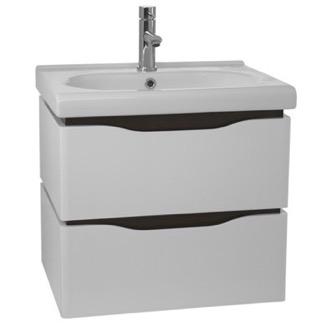 Bathroom Vanity 24 Inch Wall Mounted White Vanity Cabinet With Fitted Sink Nameeks VN-W01
