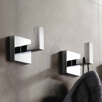 Pair of Modern Square Chrome Wall Mounted Bathroom Hooks Nameeks HC01