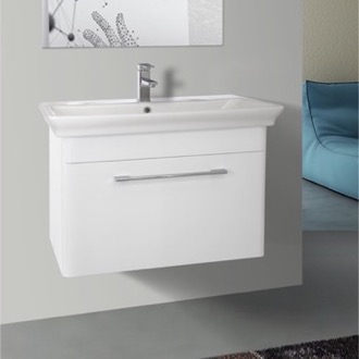 32 Inch Wall Mounted White Vanity Cabinet With Fitted Sink Nameeks PA-W01