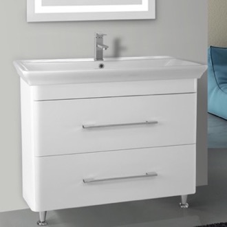 38 Inch Floor Standing White Vanity Cabinet With Fitted Sink Nameeks PA-F02