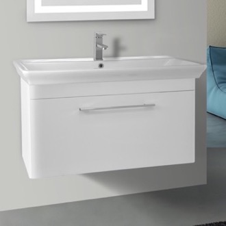 38 Inch Wall Mounted White Vanity Cabinet With Fitted Sink Nameeks PA-W02