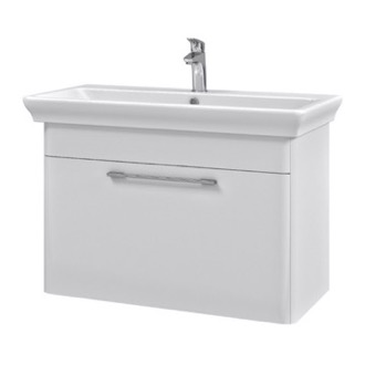 Bathroom Vanity 32 Inch Wall Mounted White Vanity Cabinet With Fitted Sink Nameeks PA-W01
