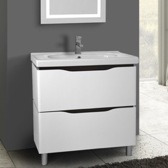 32 Inch Floor Standing White Vanity Cabinet With Fitted Sink Nameeks VN-F02