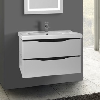 31 Inch Wall Mounted White Vanity Cabinet With Fitted Sink Nameeks VN-W02