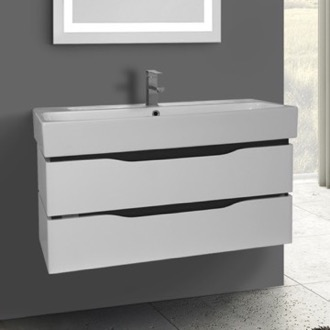 Bathroom Vanity 39 Inch Wall Mounted White Vanity Cabinet With Fitted Sink Nameeks VN-W03