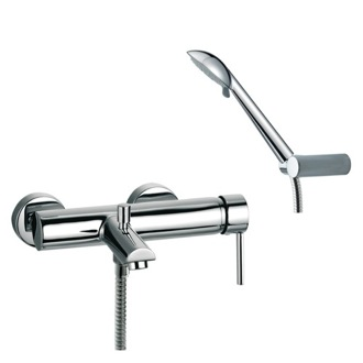 Tub Filler Wall Mounted Tub Mixer with Diverter and Hand Shower Set Ramon Soler US-3305R3
