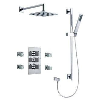 Shower Faucet Wall Mounted Brass 5 Piece Shower Set With Tub Spout and Body Spray In Chrome Finish US-4746K Ramon Soler US-4746K