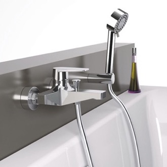 Tub Filler Wall Mount Tub Faucet with Hand Shower Remer D02