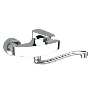 Brass Wall Mounted Sink Mixer With Movable S Spout Remer L41SUS
