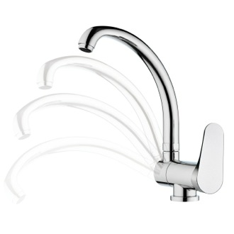 Kitchen Sink Faucet Chrome Single Lever Deck Mount Sink Faucet Remer L42RUS