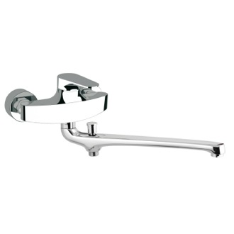 Tub Filler Single Lever Wall Mounted Basin Diverter With Long Casted Spout Remer L46US