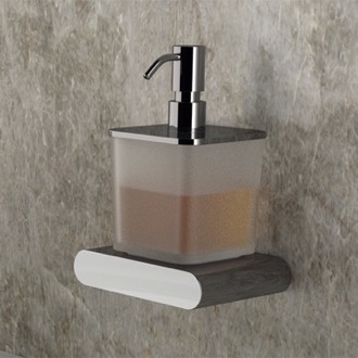 Frosted Glass and Brass Wall Mounted Soap Dispenser Remer LN13