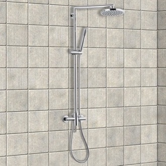 Exposed Pipe Shower Chrome Shower Column With Overhead Shower, Sliding Rail and Hand Shower Remer N37B