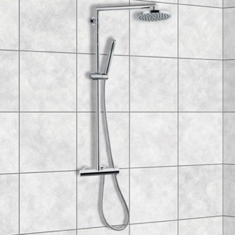 Exposed Pipe Shower Chrome Shower System With Overhead Shower, Hand Shower, and Sliding Rail Remer N37RB