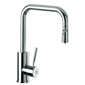 Kitchen Sink Faucet Sink Mixer With High Movable U-Spout, Dual Jet Handspray, and Round Body N73US Remer N73US