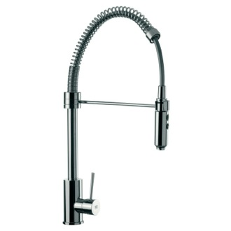 Round Body Chrome Mixer With Spring Spout, Pull Out Hand Spray and Side Lever Remer N87US
