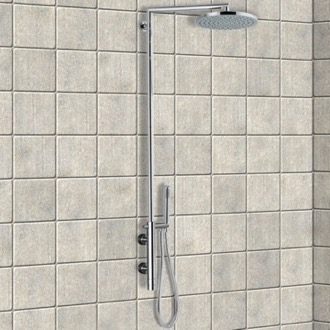 Exposed Pipe Shower External Thermostatic Shower Single Lever Mixer Shower Set with Hand Shower and Shower Head Remer NT36BXLUS