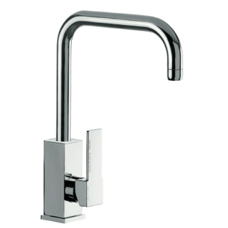Kitchen Sink Faucet Brass Mixer With Single Side Lever and High Movable U-Spout Q72US Remer Q72US