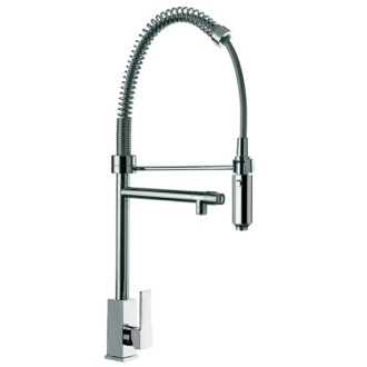 Kitchen Sink Faucet Squared Base Sink Mixer With Double Water Outlet and Hand Spray Remer Q78US