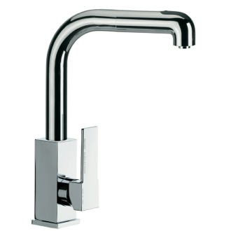 Kitchen Sink Faucet Tall Square Body Sink Mixer With High Movable Spout and Pull Out Hand Spray Remer Q82CUS
