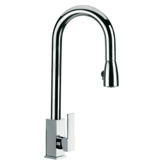 Kitchen Sink Faucet Round Mixer With High Movable C-Spout and Pull Out Hand Spray Q85US Remer Q85US
