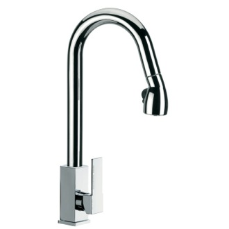 Kitchen Sink Faucet High J-Spout Mixer With Side Lever and Pull Out, 2 Function Hand Spray Q86US Remer Q86US