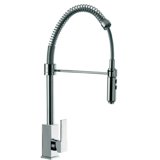 Deck Mount Squared Sink Mixer With Spring Spout and Pull Out Hand Spray Remer Q87US