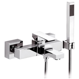 Bath and Shower Mixer With Hand Shower and Bracket in Chrome Finish Remer QD02