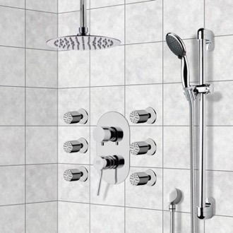 Shower Faucet Chrome Shower System with Ceiling 10